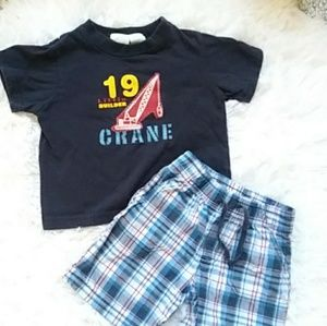 Toddler boys play outfit ✳ plaid shorts